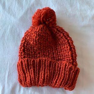Zara Red Pom Knit Beanie